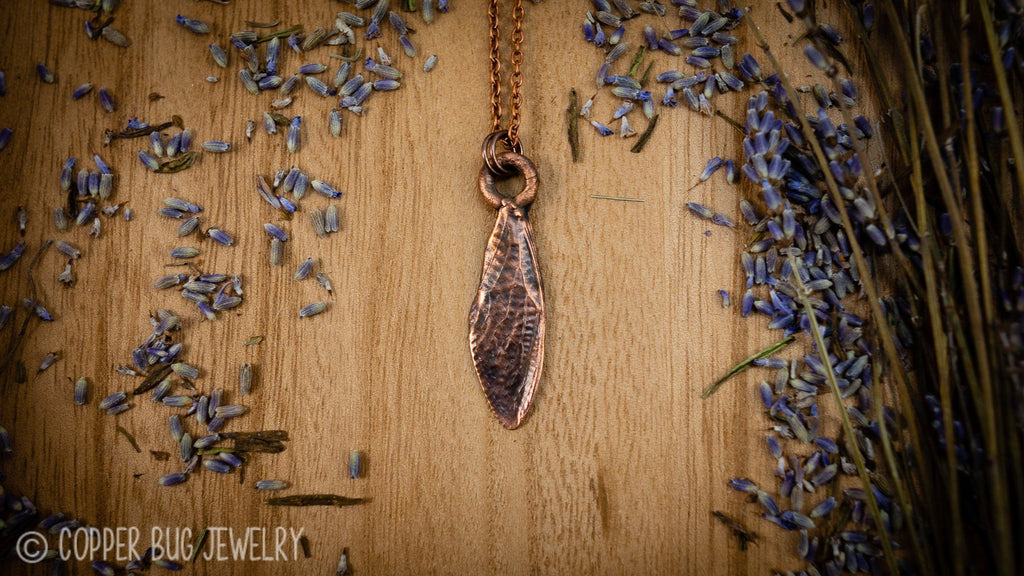 Real Electroformed Copper Cicada Wing Necklace Copper Jewelry Copper Bug Jewelry