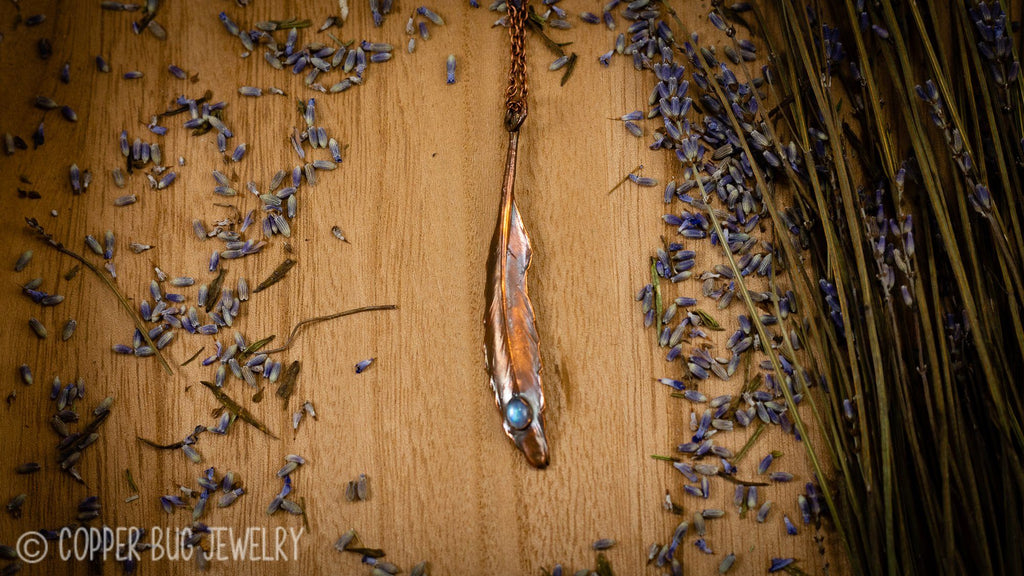 Real Feather with Moonstone Electroformed Copper Necklace Crystal Necklace Copper Bug Jewelry