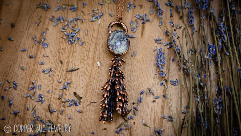 REAL Lavender and Purple Moss Agate Handmade Electroformed Copper Pendant Organics Copper Bug Jewelry