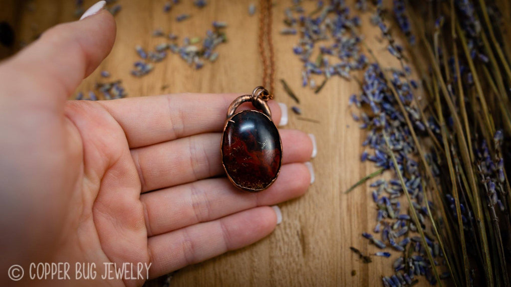 Red and Black Old Stock Agate Electroformed Copper Necklace Crystal Necklace Copper Bug Jewelry