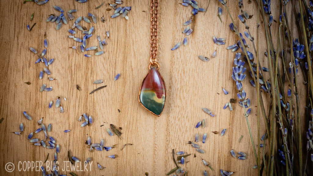 Red and Green Cherry Creek Jasper Electroformed Copper Necklace Crystal Necklace Copper Bug Jewelry