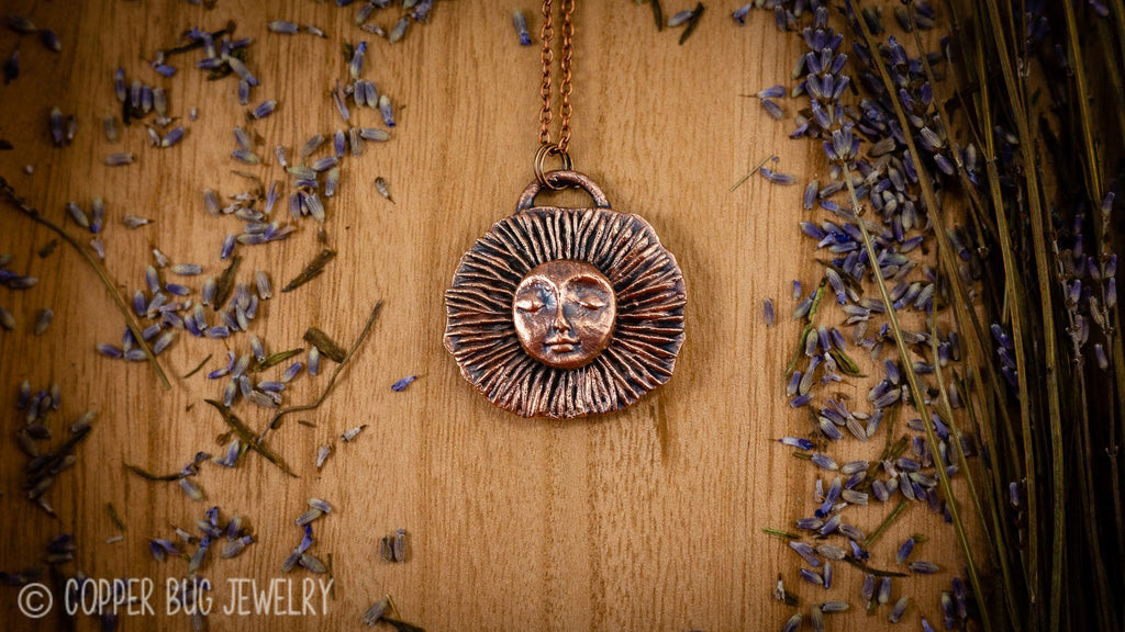 Rising Sun Electroformed Copper Necklace Copper Jewelry Copper Bug Jewelry