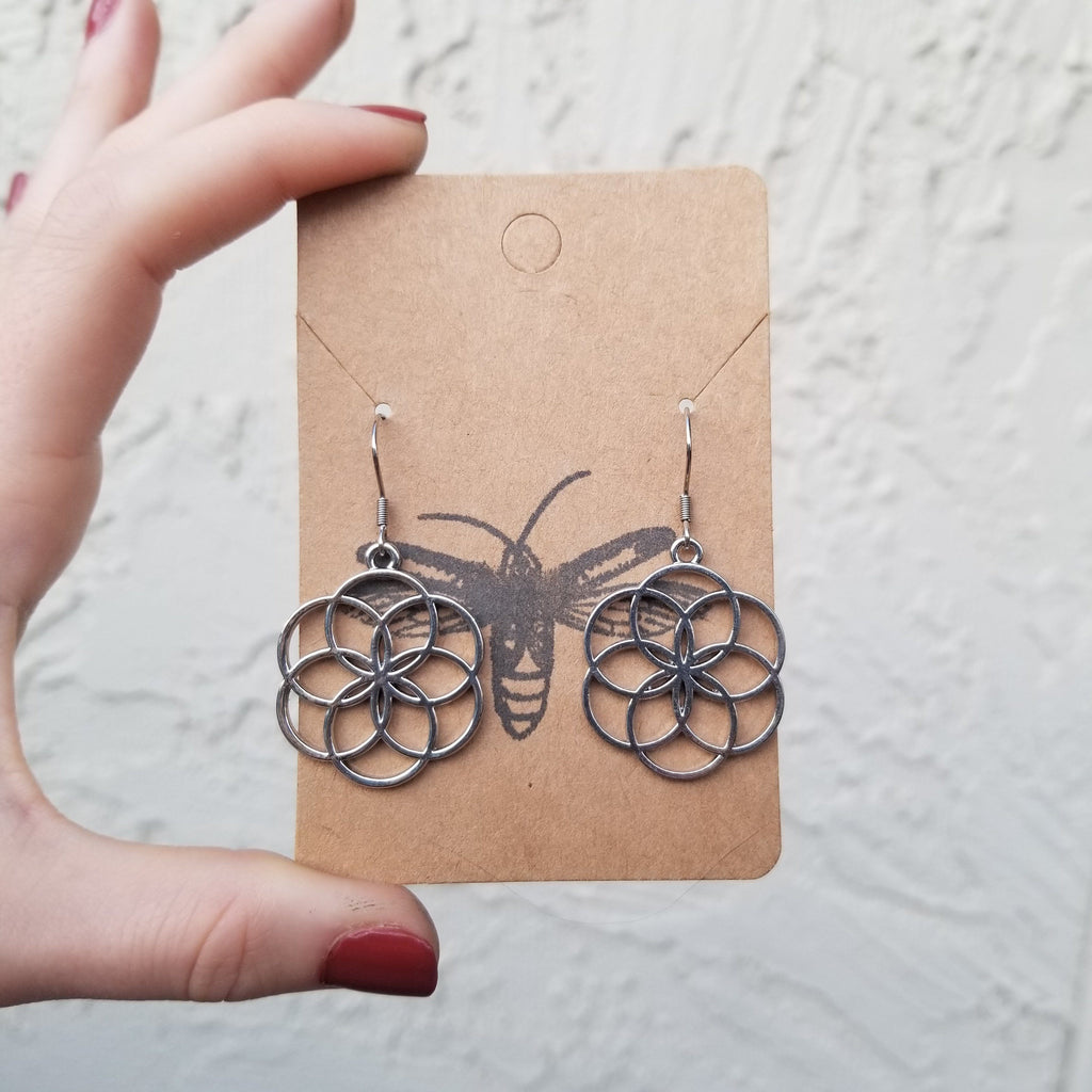 Seed of Life Rhodium Plated Earrings Earrings Copper Bug Jewelry