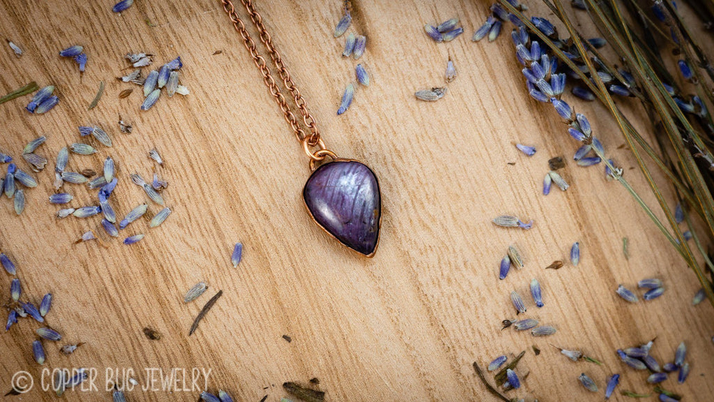 Small Sapphire Ruby Electroformed Copper Necklace Crystal Necklace Copper Bug Jewelry