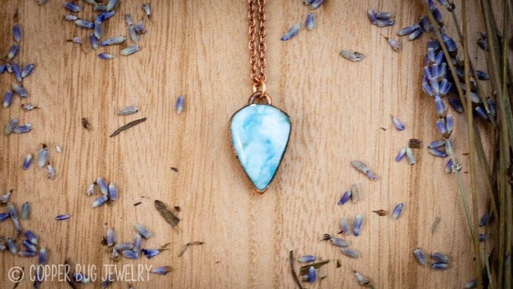 Small Sky Blue Larimar Electroformed Copper Necklace Crystal Necklace Copper Bug Jewelry