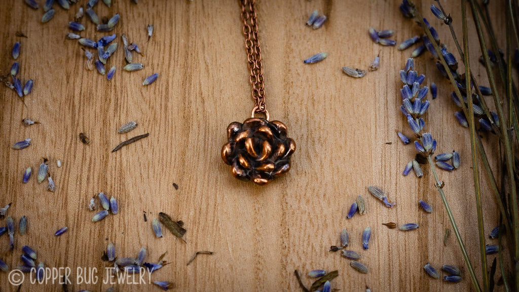 Small Succulent Electroformed Copper Necklace Copper Jewelry Copper Bug Jewelry