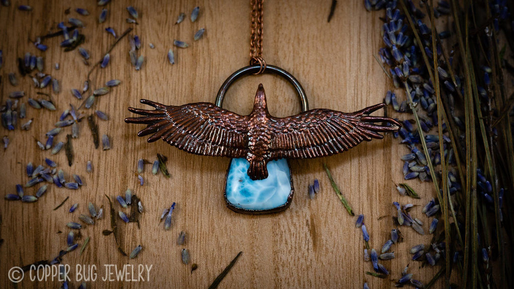 Soaring Eagle Over Larimar Electroformed Copper Necklace Crystal Necklace Copper Bug Jewelry