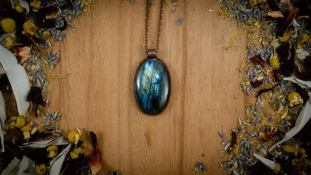 Striped Blue Labradorite Electroformed Copper Necklace Crystal Necklace Copper Bug Jewelry
