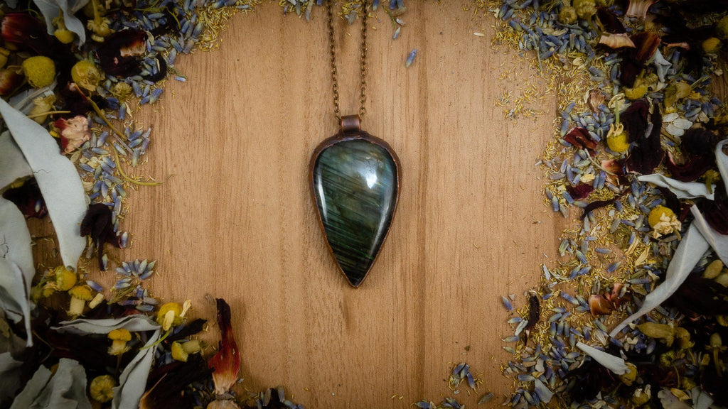 Striped Green and Blue Labradorite Electroformed Copper Necklace Crystal Necklace Copper Bug Jewelry