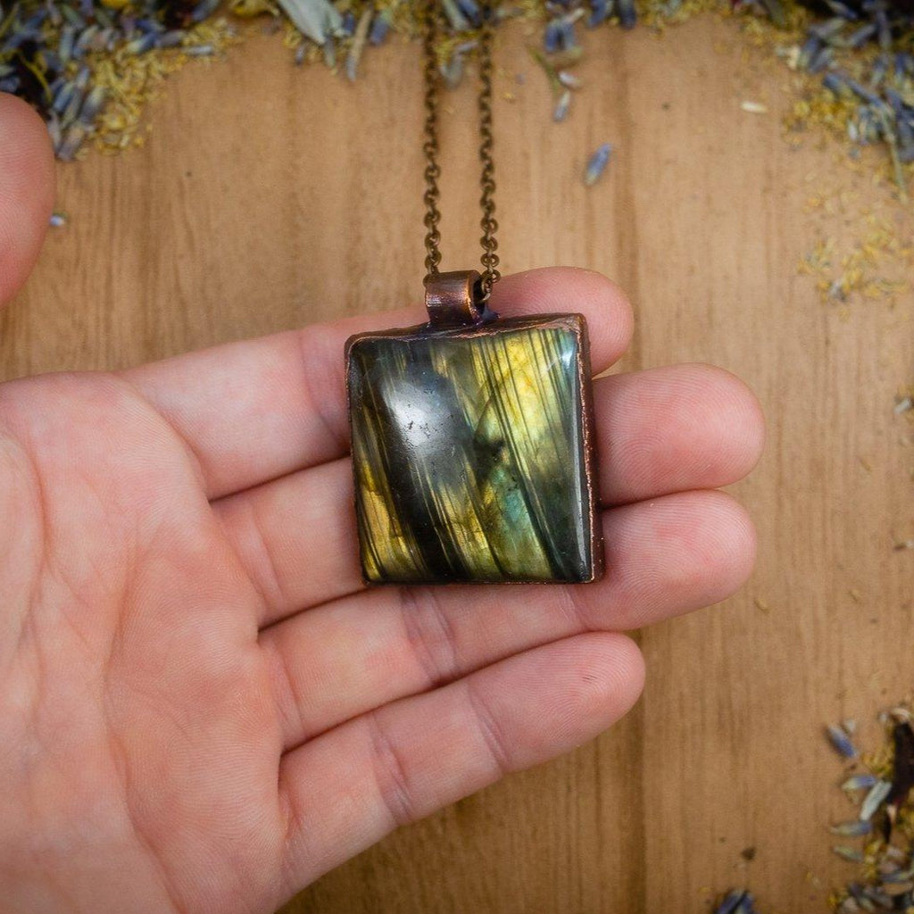 Striped Green Square Labradorite Electroformed Copper Necklace Crystal Necklace Copper Bug Jewelry