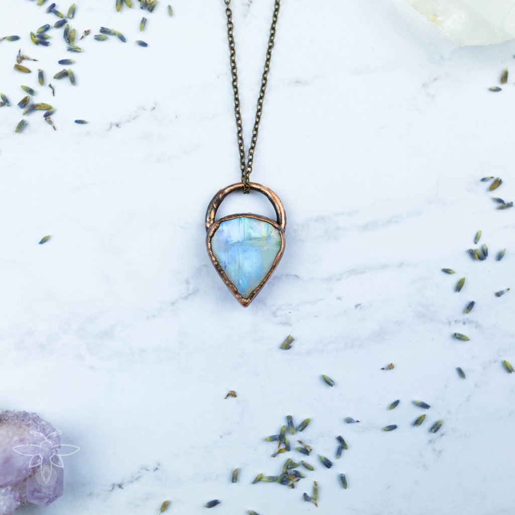 Stunning Rainbow Moonstone Electroformed Copper Necklace Crystal Necklace Copper Bug Jewelry