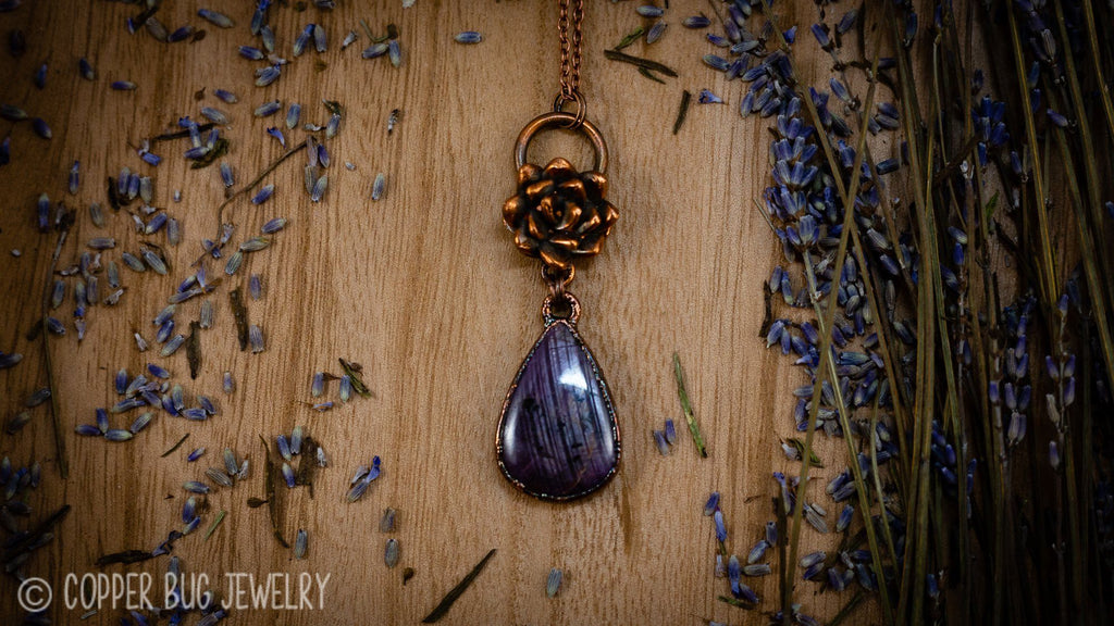 Succulent and Sapphire Ruby Electroformed Copper Necklace Crystal Necklace Copper Bug Jewelry