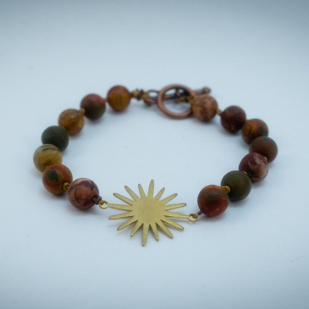 Sun Energy - Cherry Creek Jasper Hand Knotted Bracelet Copper Bracelet Copper Bug Jewelry
