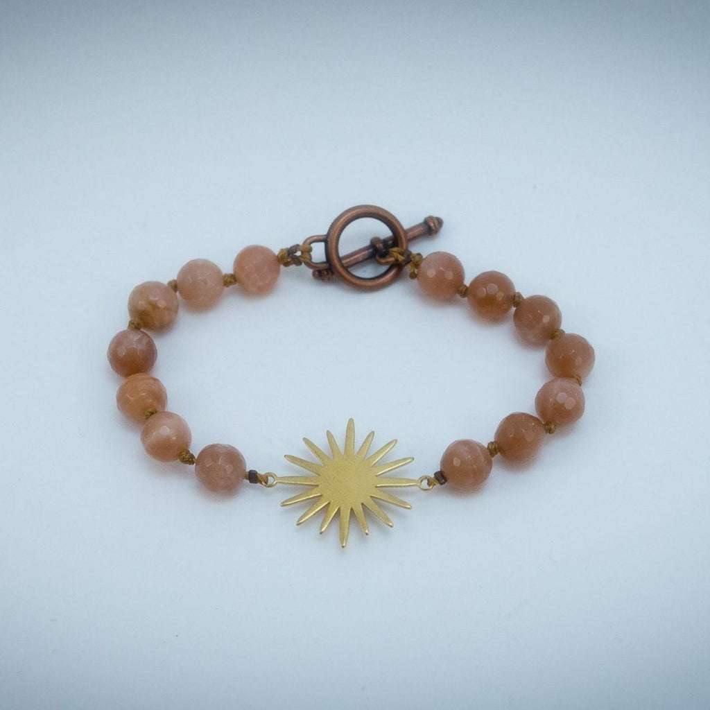 Sun Energy - Faceted Sunstone Hand Knotted Bracelet Copper Bracelet Copper Bug Jewelry