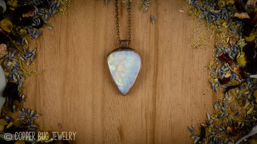 Super Bright Rainbow Moonstone Electroformed Copper Necklace Crystal Necklace Copper Bug Jewelry