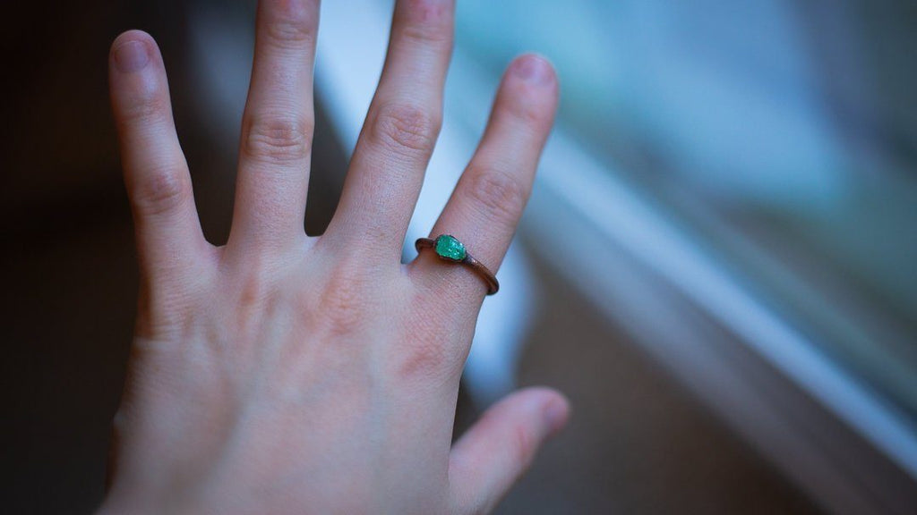 Super Pretty Minty Green Tsavorite Garnet Electroformed Copper Ring - Size 7.5 - Copper Bug Jewelry Rings Copper Bug Jewelry