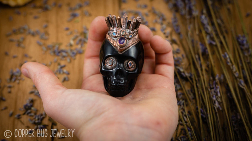 The Night's King - Electroformed Copper Crowned Obsidian Skull Home Decor Copper Bug Jewelry