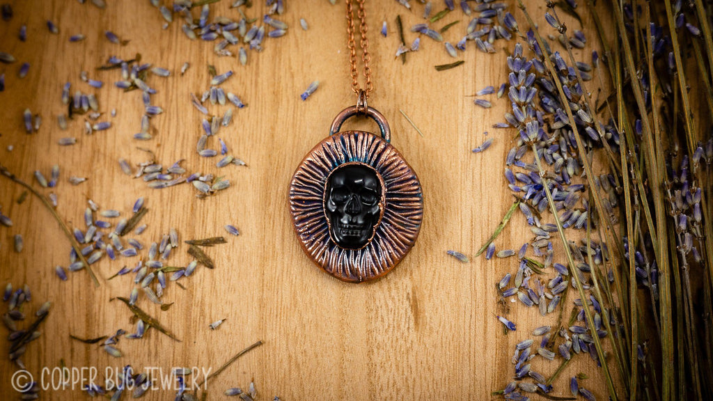 Valar Morghulis - All Men Must Die - Electroformed Copper Necklace Crystal Necklace Copper Bug Jewelry