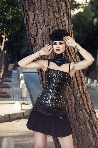 Real leather gothic corset