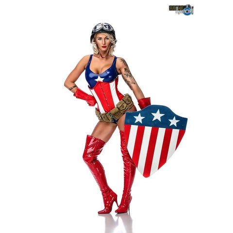 Captain America cosplay pinup