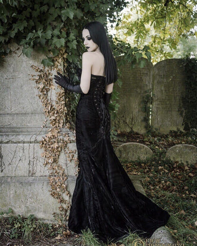 velvet gothic corset dress