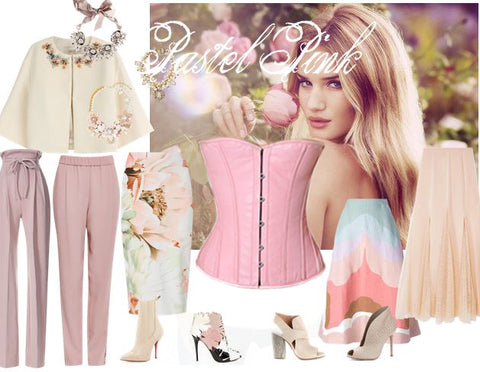 pastel pink leather corset