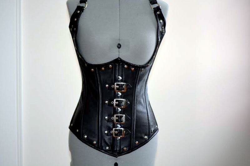 Underbust black leather corset vest, 24 inches - Corsettery Authentic Corsets USA