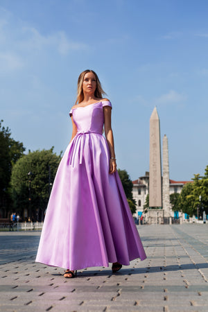 Long satin gown with wide skirt #5624. Lavander. Dress for prom, wedding, bridesmaids - Corsettery Authentic Corsets USA