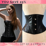 The set of 2 real leather corsets: overbust and waspie corsets, you save 25%. Steelbone custom made corset, gothic, steampunk, bespoke, victorian