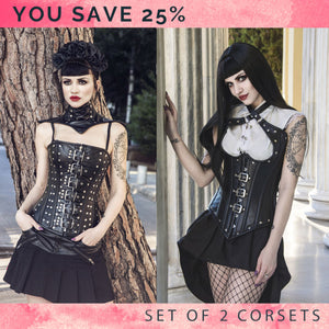 The set of 2 real leather gothic corsets with buckles and metal: overbust and vest, you save 25%. Steelbone custom made corset, gothic, steampunk - Corsettery Authentic Corsets USA