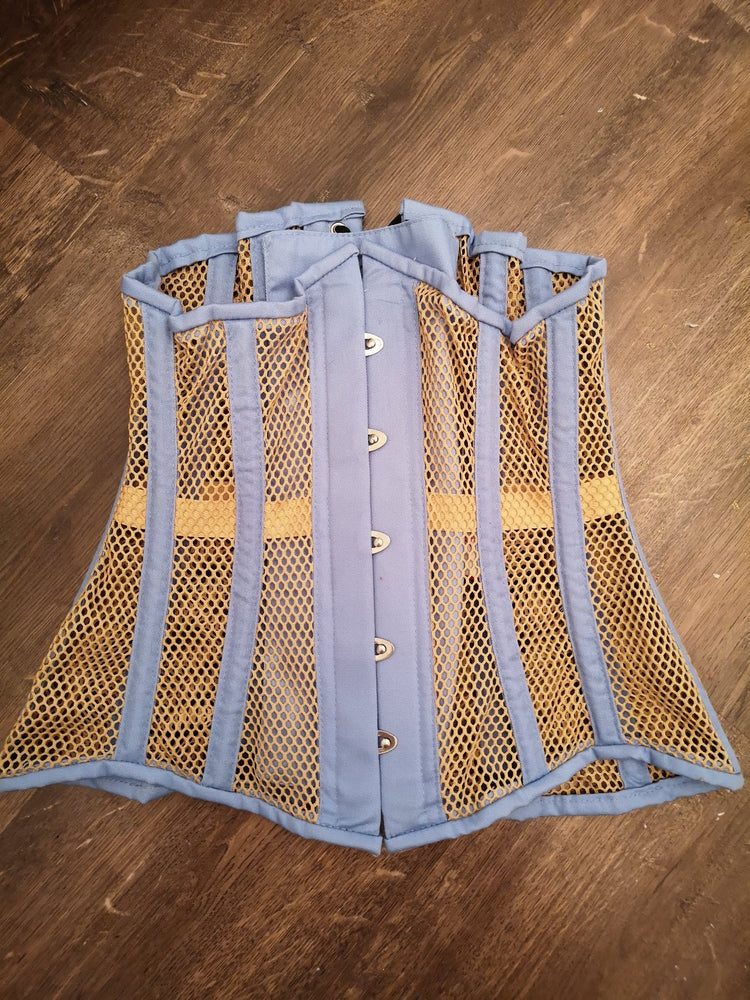 Blue and beige steel boned underbust corset from mesh. Authentic corset for tight lacing