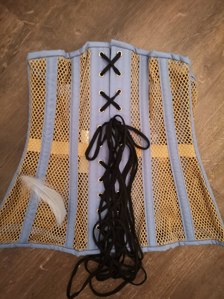 Blue and beige steel boned underbust corset from mesh. Authentic corset for tight lacing - Corsettery Authentic Corsets USA