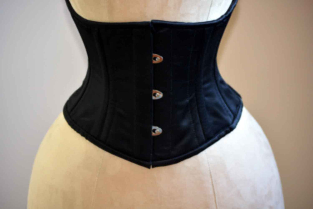 Black satin waspie corset, 36 inches - Corsettery Authentic Corsets USA