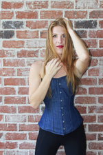 Denim overbust corset from Corsettery Western Collection with busk, blue denim corset - Corsettery Authentic Corsets USA