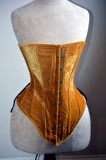 Historical pattern Edwardian overbust corset from velvet. Steelbone custom corset, renaissance, gothic, steampunk, bespoke, victorian - Corsettery Authentic Corsets USA