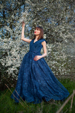 Long tulle opera gown dress with covered shoulders #4216. Dress for prom, bridesmaids, photoshoots