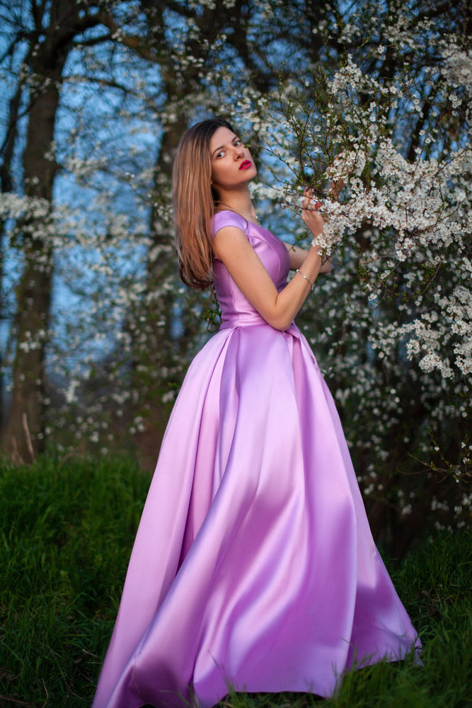 Long satin gown with wide skirt #5624. Lavander. Dress for prom, wedding, bridesmaids