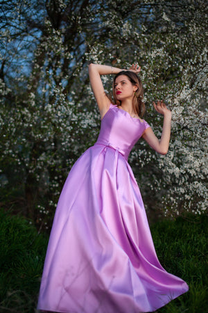 Long satin gown with wide skirt #5624. Dress for prom, wedding, bridesmaids, photoshoots - Corsettery Authentic Corsets USA