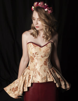 Cute floral brocade overbust corset with frill on hips. Authentic steel-boned corset-Corsettery