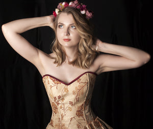 Cute floral brocade overbust corset with frill on hips. Authentic steel-boned corset
