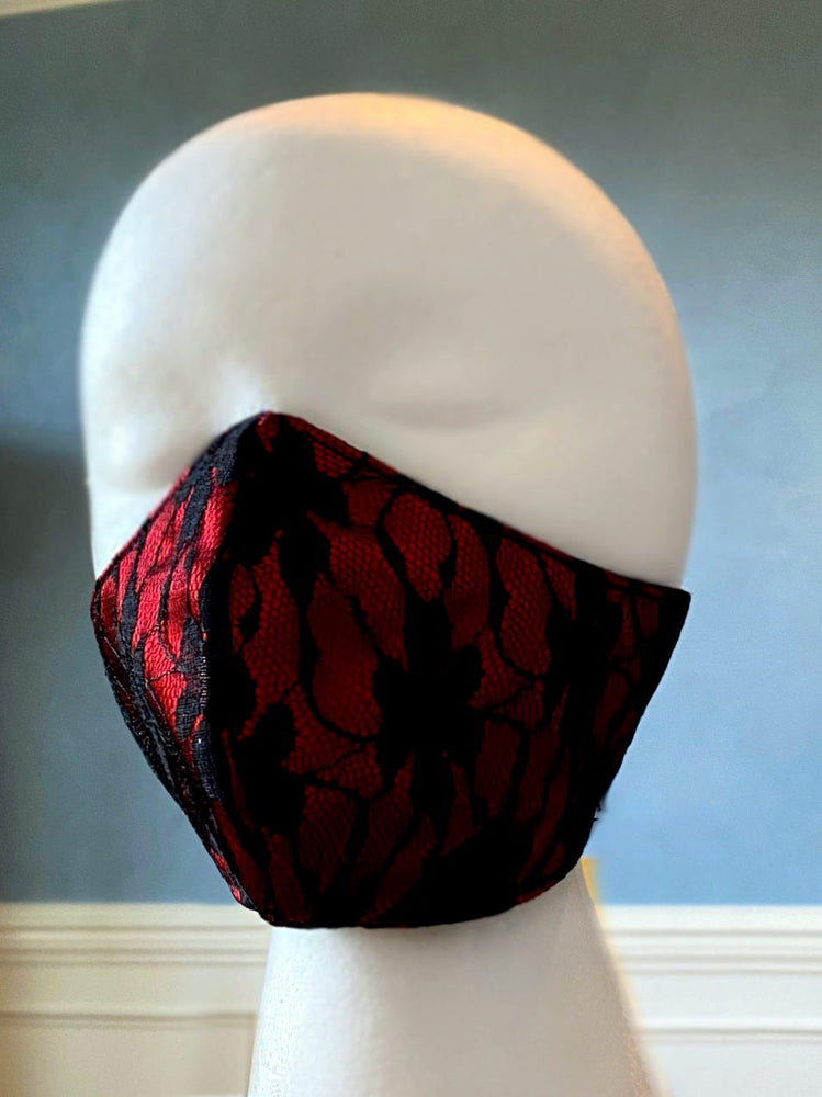 Fashion face cover/cloths face mask, red with black laces outside, cotton inside. Around head ribbon - Corsettery Authentic Corsets USA