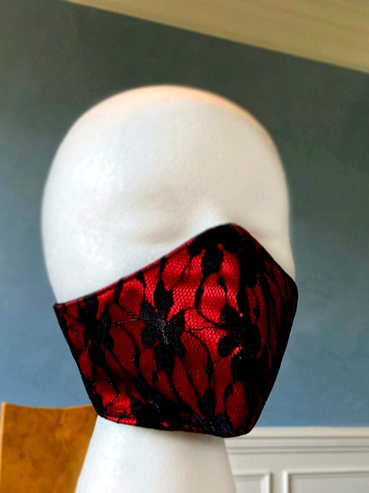 Fashion face cover/cloths face mask, red with black laces outside, cotton inside. Around head ribbon