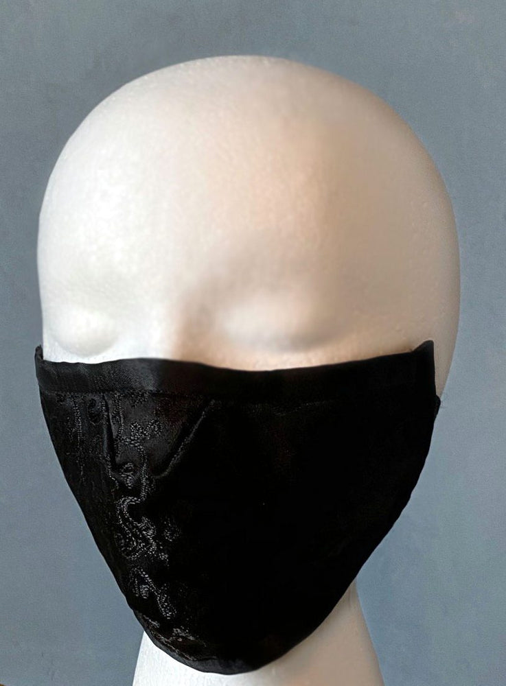 Black brocade face cover/cloths face mask, cotton inside. Made to order - Corsettery Authentic Corsets USA