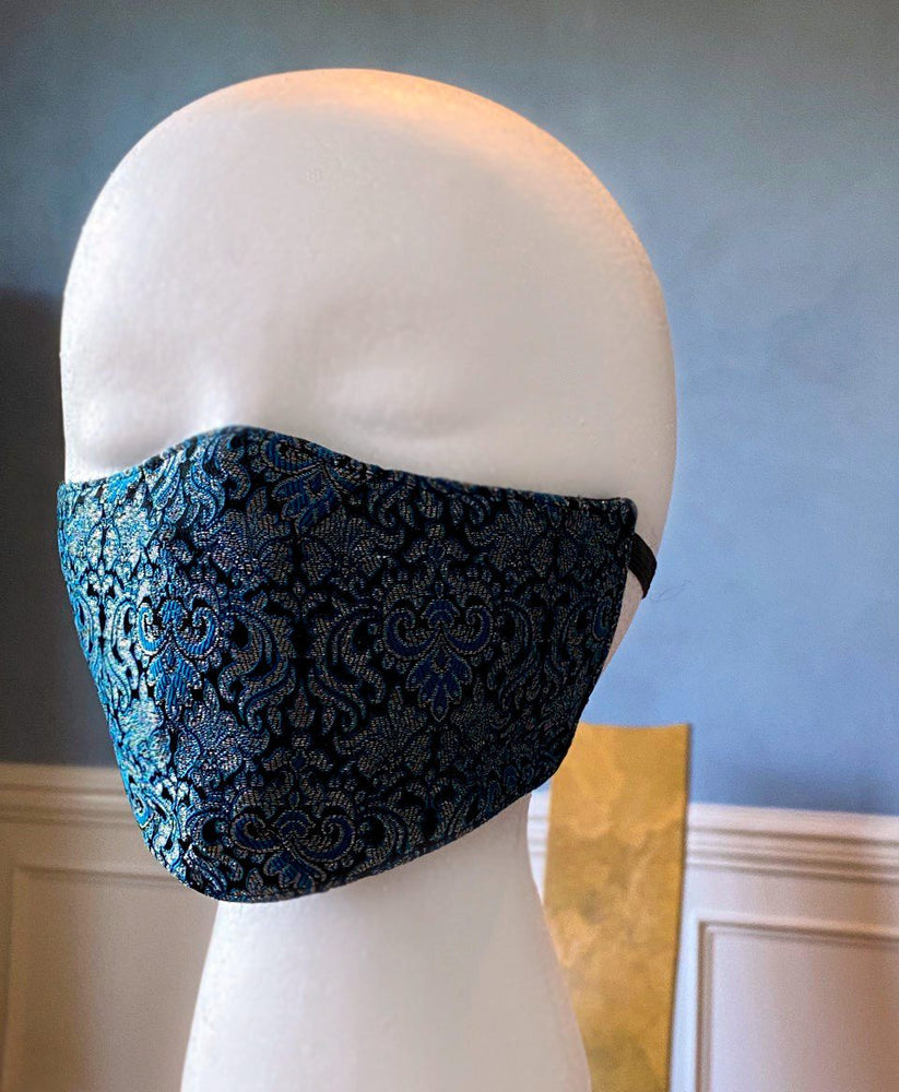 Brocade face cover/cloths face mask, cotton inside. Made to order-Corsettery