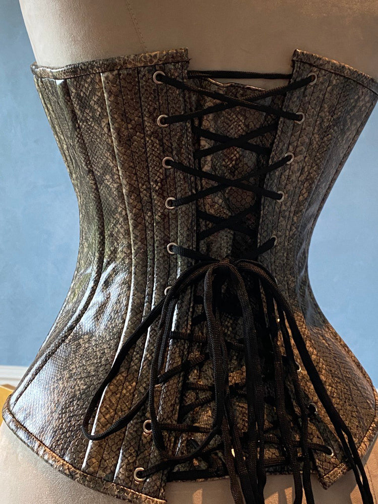 Fake snake leather Edwardian pattern PVC corset. Steelbone custom corset, renaissance, gothic, steampunk, bespoke, victorian - Corsettery Authentic Corsets USA
