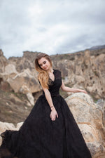 Long tulle opera gown dress with covered shoulders #4216. Black. Dress for prom, bridesmaids, photoshoots