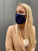 The set of 6 washable SILVER infused fabric face masks with adjustable earloops, made in USA, Navy