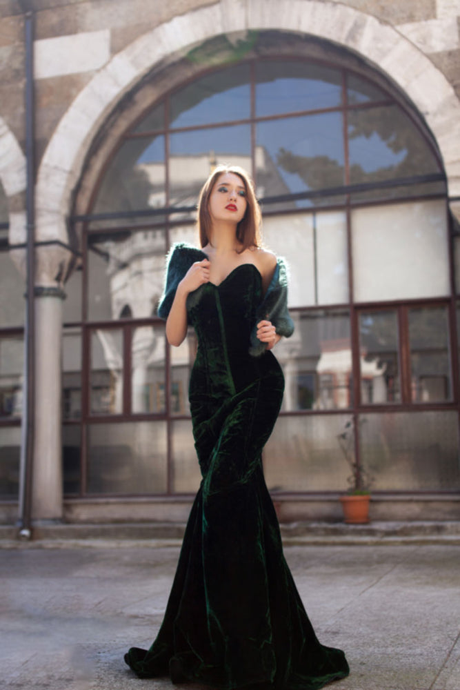 Mermaid long velvet corset dress. Gothic, steampunk velvet dress, vampire dress