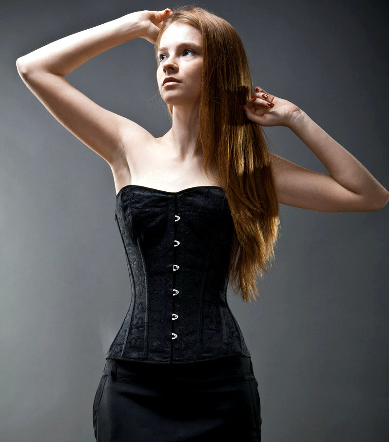 Classic brocade corset with classic busk. Gothic Victorian, steampunk affordable corset - Corsettery Authentic Corsets USA