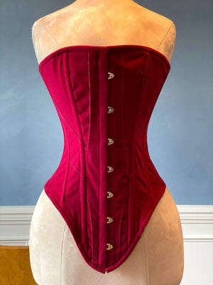 Historical pattern Edwardian overbust corset from fake suede. Steelbone custom corset, renaissance, gothic, steampunk, bespoke, victorian - Corsettery Authentic Corsets USA